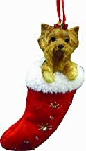 Yorkie Christmas Stocking Ornament, Hand Painted and Stitched Detail