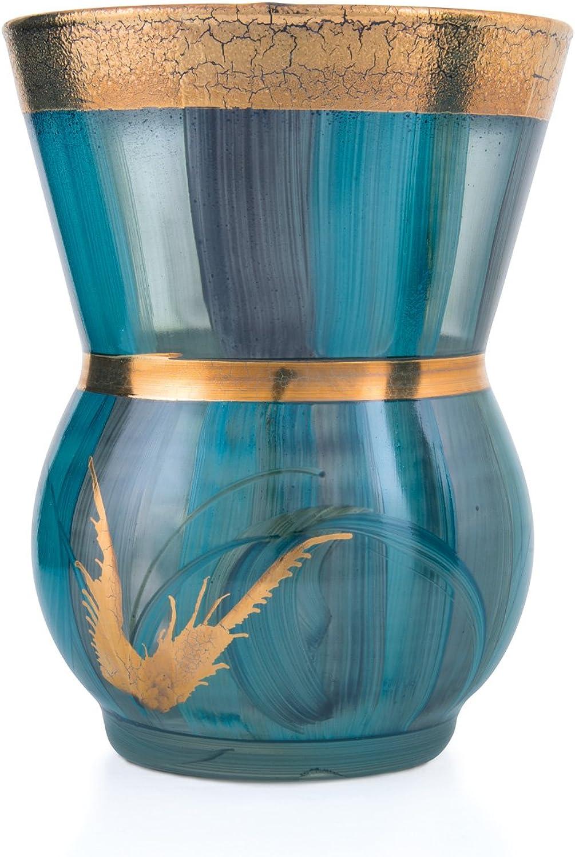 Angela neue Wiener Werkstaette 705118-01 705118-01 705118-01 Blaumenvase, echtes Golddekor, handbemalt Aqua, H 18 cm, Durchmesser 14 cm B00ZTTHNFW 68bf92