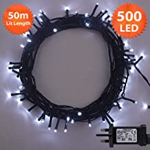 Fairy Lights 500 LED 50m Bright White Indoor/Outdoor Christmas Lights String Tree Lights Festival/Bedroom/Party Decorations Memory Timer Mains Powered 164ft Lit Length 10m/32ft Lead Wire Green Cable