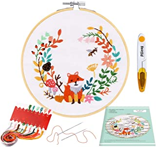 Pllieay Full Range Embroidery Starter Kit with Fox Pattern and Instructions, Embroidery Clothes, Bamboo Embroidery Hoops, ...