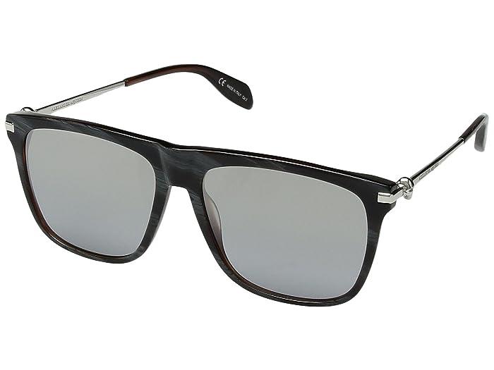 Alexander McQueen  AM0106S (Blue Horn/Silver) Fashion Sunglasses