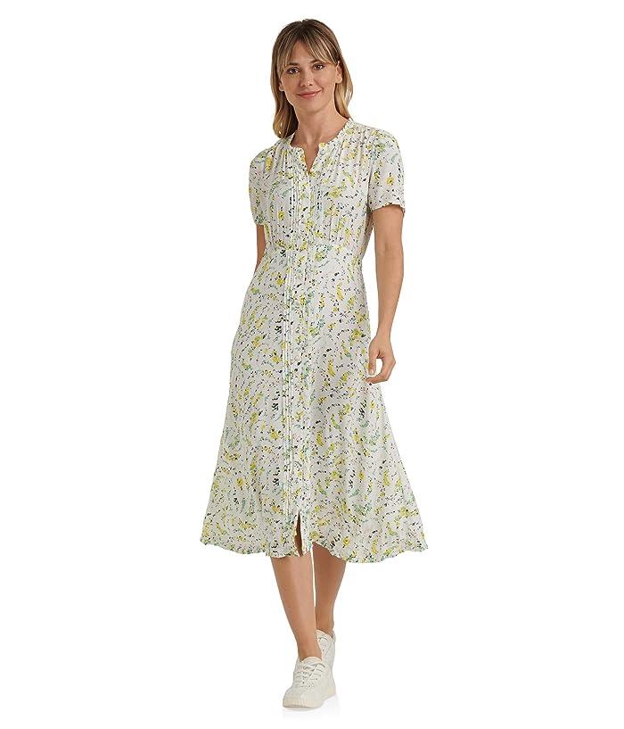 Lucky Brand  Short Sleeve Scoop Neck Scalloped Hem Penelope Dress (White Multi) Womens Clothing