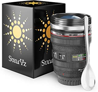 Camera Lens Coffee Mug Stainless Steel Premium - Travel Coffee Mug Insulated Thermos Cup with Black Easy Clean Lid and BONUS Free Spoon + FREE Coffee E-Book by SunrYz