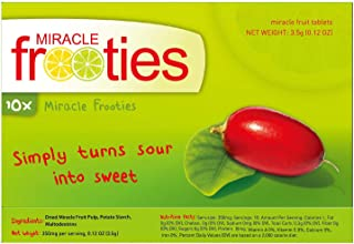 Miracle Frooties Classic Miracle Fruit Tablets, 100% Naturally Grown Organic Miracle Berry. Simply Turn Sour into Sweet, Taste Tripping, Change Taste Buds, Low Sugar Intake. 10 count, 350mg/count.