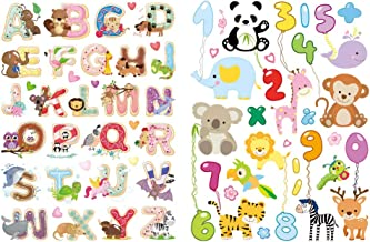 Animal Abc's and 123's Static Wall Clings Incredible Removable Window Clings for Kids, Toddlers - Alphabet, Math, Spell, Count - Incredible Wall Decals for Glass, Walls, Planes, Classrooms, Bedrooms