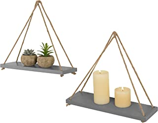 MyGift 17-Inch Distressed Grey Solid Bamboo Wall Hanging Rack Swing Rope Floating Shelves, Set of 2
