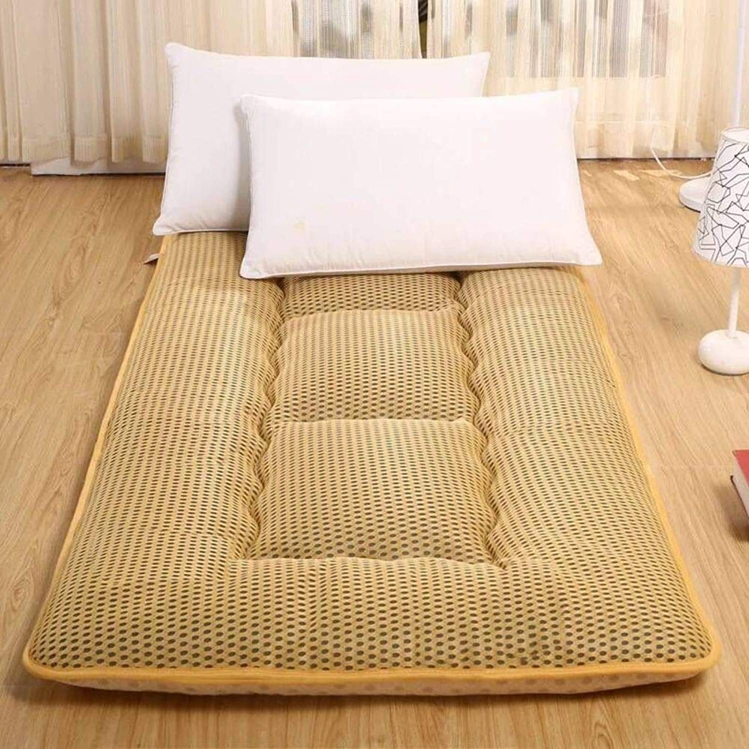 Breathablle Mesh Tatami Sleeping Floor Mattress Topper, Anti Slip Thicken Mattress mat Pad Roll up for Living Room Dorm-C 90x200cm(35x79inch)