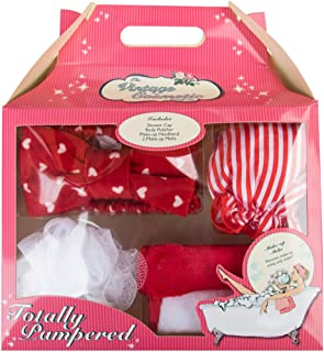 The Vintage Cosmetic Company | Totally Pampered Bath Accessories | 4 Piece Set includes Make-up Headband, Body Polisher, Shower Cap and Make-up Melts | Unwind and Relax | Red and White | 9.6 oz