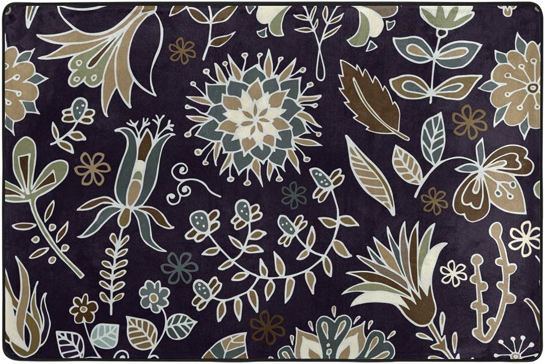 MONTOJ Classic Dark Flower Pattern Floor mat Area Rugs Super Soft Living Room Bedroom Home Decoration Carpet Doormat Wearproof