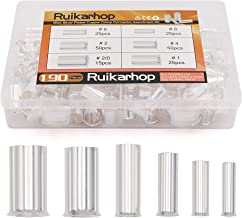 Ruikarhop 190PCS (AWG 8 6 4 2 1 2/0) 2/0-8 Gauge Wire Ferrules Kits Silver Plated Copper Crimp Connector Non Insulated Ferrules Pin Cord End Terminal