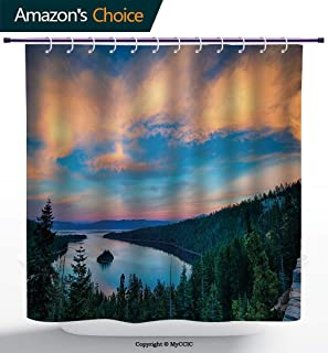 MyCCIC AM14708 Lake Tahoe Funky Shower Curtain/High Angle View Californian Freshwater Lake Tranquil Scene Sundown Forest Green Sky Blue