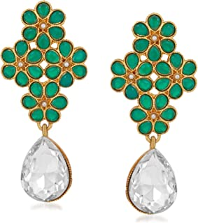 f9bb2e5ad Om Jewells Indo Western Gold Plated Flower Shape Inspired Earrings Studded  with Green Kundan Stones and