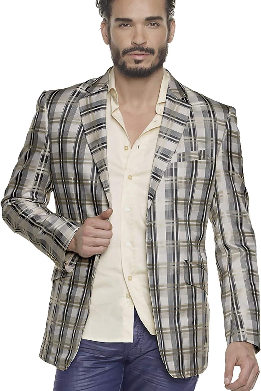 Men's Plaid Sport Coat Blazer Gray