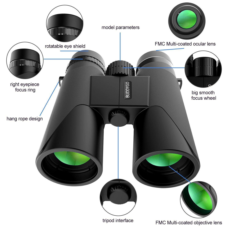 Prismaticos BUDDYGO 10x42 Prism/áticos Binoculares Profesionales de Alta Resoluci/ón y Largo Alcance con Prisma Bak-4 N/ítida Vista,para Observaci/ón de Aves,Conciertos,Camping,para Tel/éfono Inteligente