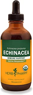 Herb Pharm Certified Organic Echinacea Root Liquid Extract for Immune System Support, Organic Cane Alcohol, 4 Ounce