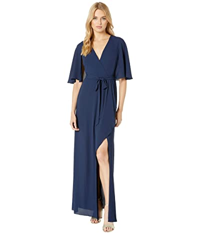 BCBGMAXAZRIA Cape Detail Gown with Slit (Dark Navy) Women