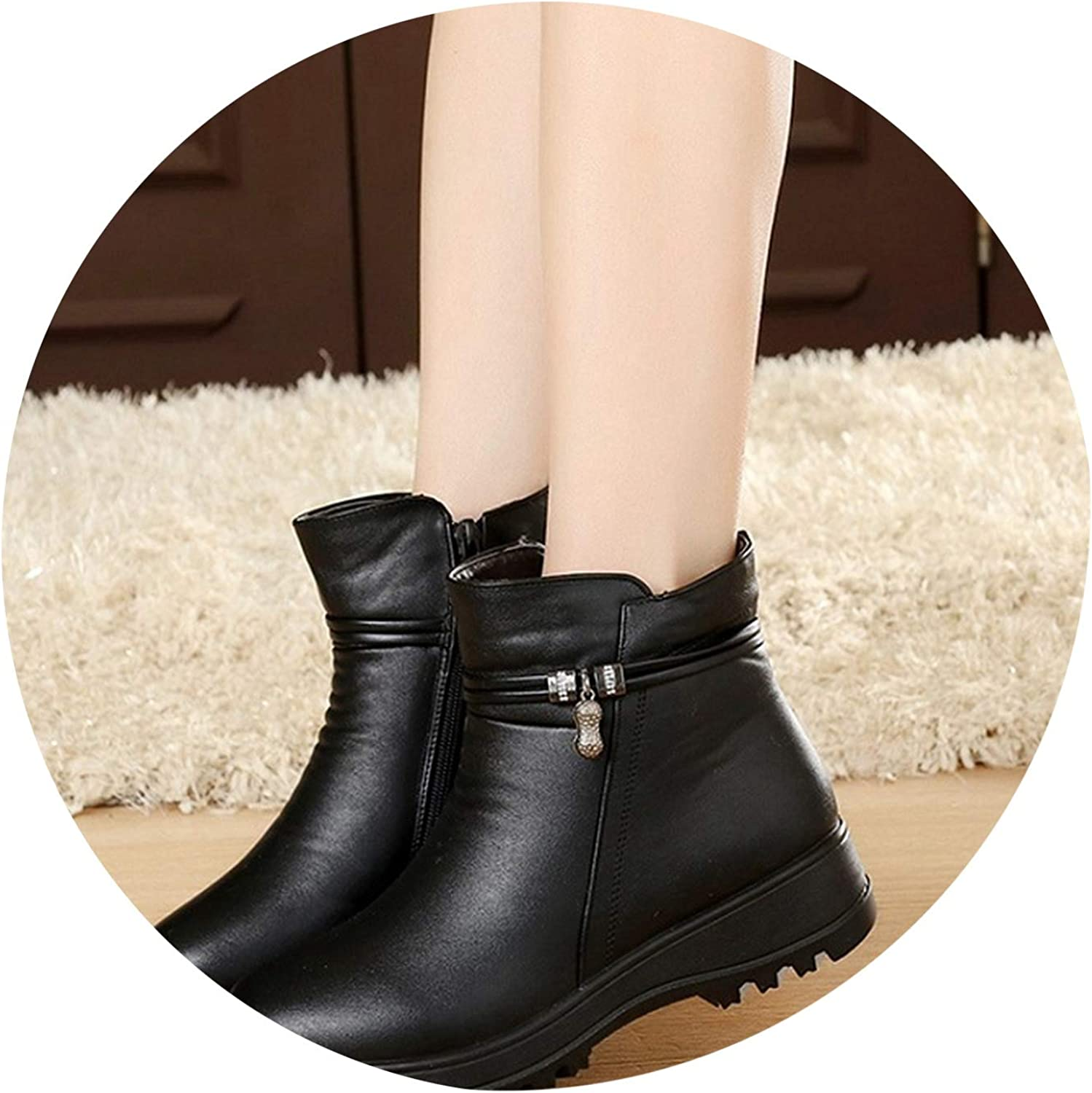 Winter shoes Women's Genuine Leather Ankle Flat Boots Casual Warm Woman Snow Boots
