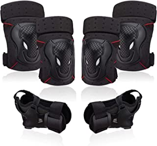 NHH Knee Pads Elbow Pads and Wrist Guards - 6 in 1 Protective Gear Set for Kids Youth Adults Bicycling Cycling Bike Skateb...