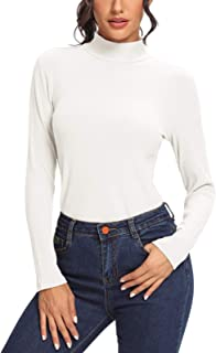 SEVEGO Women's High Neck Shirts Long Sleeve Stretchy Undershirts Striped Slim Fit Solid Tee Tops