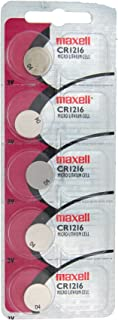 Maxell Lithium Battery CR1216 Pack of 5 Batteries