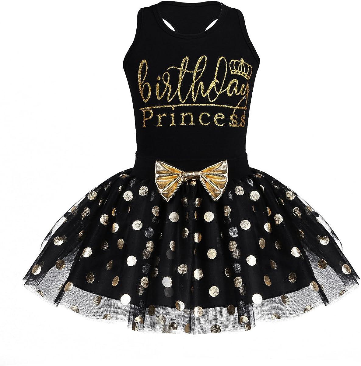 Nimiya Baby Infant Girls 2pcs Birthday Outfits Princess Shiny Sequins Polka Dots Racer-Back Shirt with Mesh Tutu Skirt Set