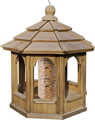 Gray Bunny Deluxe Gazebo Bird Feeder, Solid Wood Wild Bird Feeder, Hanging Birdfeeder for Outdoors, 15 in Diameter