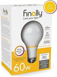 Finally Acandescent 60 Watt A19 Replacement Light Bulb Warm White (2700K) - 6 Pack by Finally Acandescent
