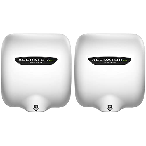 Excel Dryer XLERATOReco XL-BW-ECO 1.1N High Speed Automatic Commercial Hand Dryer, White Thermoset Cover, Automatic Surface Mount, GreenSpec Listed, LEED Credits, No Heat 4.5 Amps 110/120V (2 Pack)