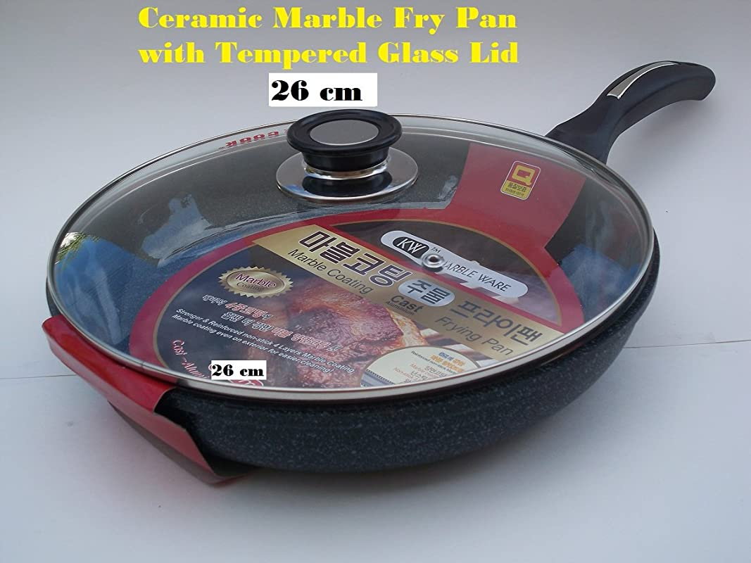 Ceramic Marble Coated Non Stick Cast Aluminium Fry Pan With Lid 26 Cm 10 Inches