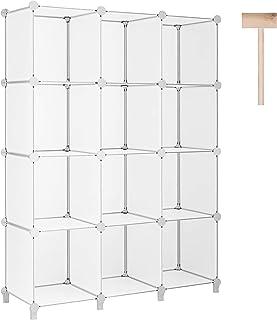 Puroma Cube Storage Organizer 12-Cube Closet Storage Shelves with Wooden Hammer DIY Closet Cabinet Bookshelf Plastic Squar...