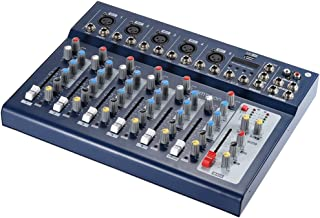 ammoon F7-USB ミキサー ミキシングコンソール 7チャンネル 3バンド イコライザー 48Vファンタム電源 DJステージカラオケ音楽鑑賞用