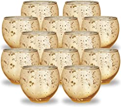 """Just Artifacts Ovoid Mercury Glass Votive Candle Holders 3""""H - Speckled Gold (Set of 12)"""