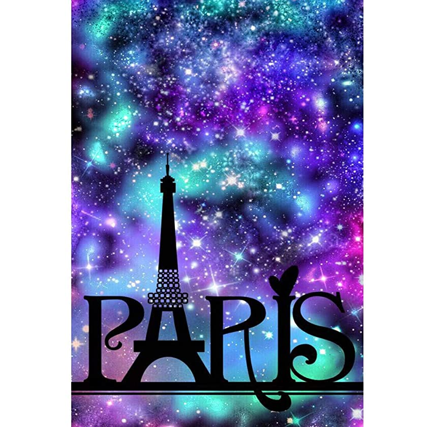 DIY 5D Diamond Paint by Number for Adults Kit, Crystal Rhinestone Diamond Embroidery Paintings Pictures Arts Craft for Home Wall Decor, Colorful Starry Sky Paris Eiffel Tower (W028-11.8X15.7in)