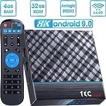 Android TV Box 9.0 4GB RAM 32GB ROM, TEC max+ Android TV Box Amlogic S905X3 Quad-Core 64bit with 3D 8K HD H.265, Dual-WiFi 2.4G/5G, USB 3.0 Smart TV Box