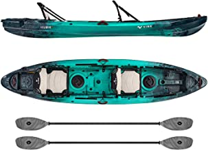 Vibe Kayaks Yellowfin 130T 13 Foot Tandem Angler and Recreational Two Person Sit On Top Fishing Kayak (Caribbean Blue) with 2 Paddles and 2 Hero Comfort Seats - Smoke Gray Evolve Paddles