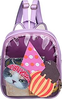 Candy Leather Cat Backpack Plastic Transparent Beach Girls School Bag