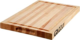 Maple Wood Cutting Board Unfinished Edge Grain Extra Large 17x11 Butcher Block Reversible with Deep Juice Groove Handcrafted in the USA by Grizzly Cutting Boards