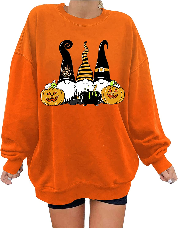 Halloween Women Oversized Sweatshirt Long Sleeve Trendy Graphic Printed Casual Trendy Fleece Fluffy Pullover Top Blouse