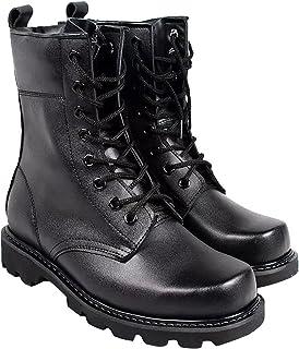 曼熙威 男士真皮军迷靴 复古休闲 加绒保暖靴 户外战术高帮丛林靴