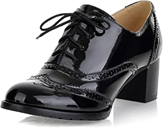 Womens Patent Leather Oxfords Brogue Wingtip Lace Up Chunky High Heel Shoes Dress Pumps