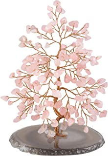 CrystalTears Natural Rose Quartz Crystal Bonsai Money Tree w/Agate Slice Base Figurine for Wealth Good Luck Spiritual Gift Home Decor 5.5