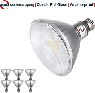 Explux Classic Full-Glass PAR38 LED Flood Light Bulbs, Dimmable, 2700K Soft White, Indoor/Outdoor, 120W Equivalent, 6-Pack