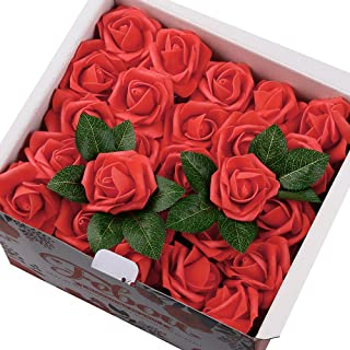 Febou Artificial Flowers, 100pcs Real Touch Artificial Foam Roses Decoration DIY for Wedding Bridesmaid Bridal Bouquets Centerpieces, Party Decoration, Home Display (Concise Type, Red)
