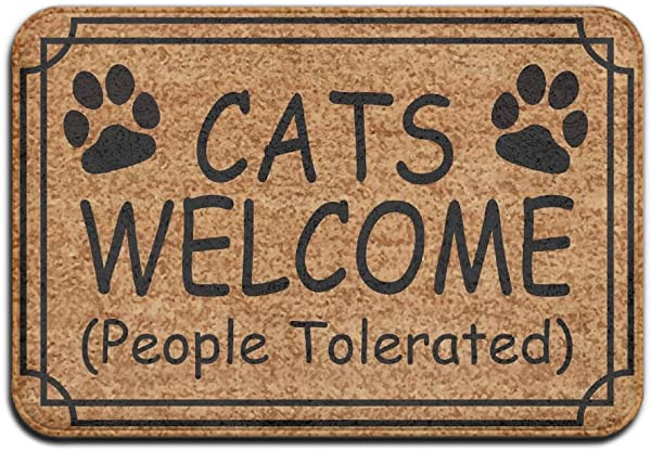 Dogs Cats Welcome People Tolerated Super Absorbent Anti Slip Mat Indoor Outdoor Decor Rug Doormat 23 6 L X15 7 W Inch Home Decor