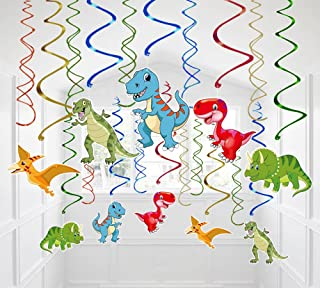 Moon Boat 30 Ct Dinosaur Hanging Swirl Decorations - Dino Fossil Jurassic T-REX Birthday Party Supplies Ornaments