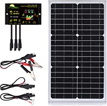 SUNER POWER 30 Watts Mono Crystalline 12V Off Grid Solar Panel Kit - Waterproof 30W Solar Panel + Photocell 10A Solar Charge Controller with Work Time Setting + SAE Connection Cable Kits