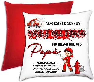 Cuscino personalizzato papà vigile del fuoco dedica rosso Festa del Papà