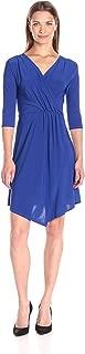 Women's 3/4 Sleeve Surplice Wrap ITY Knit Ballerina Dress with Skirt