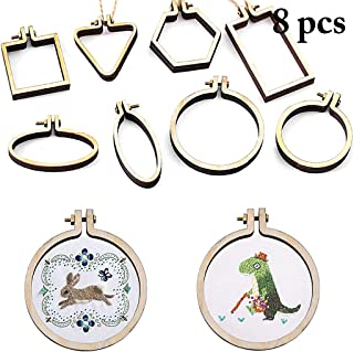 JUSTDOLIFE 8PCS Embroidery Hoop Mini Embroidery Ring Cross Stitch Hoop for DIY Art Craft
