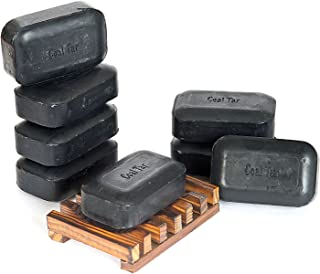 Soap Works Coal Tar Bar Soap, 8-Count with Free Soap Works Natural Wood Soap Dish